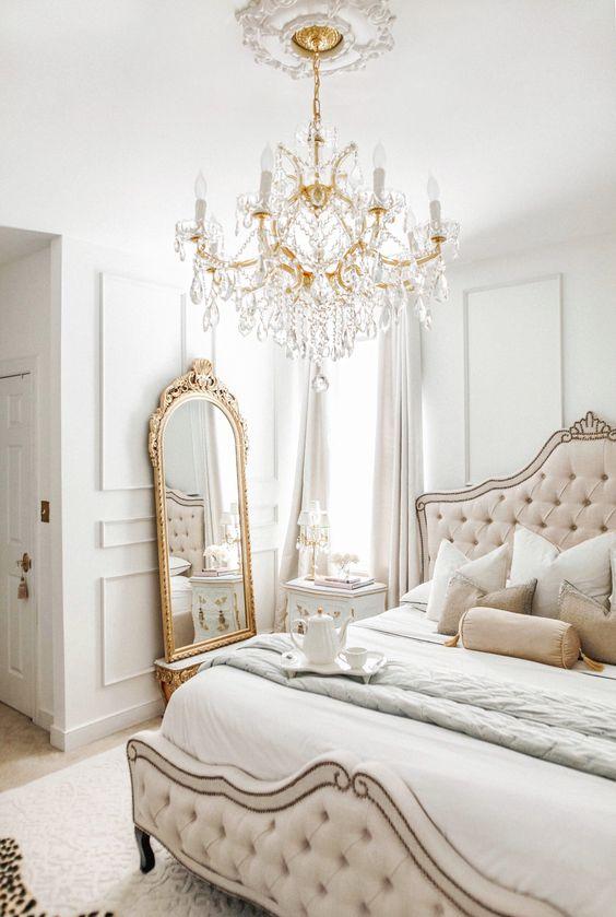 Vintage bed frame in modern Victorian bedroom