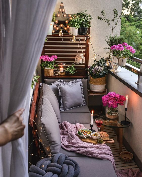 Beautiful small balcony in eclectic design