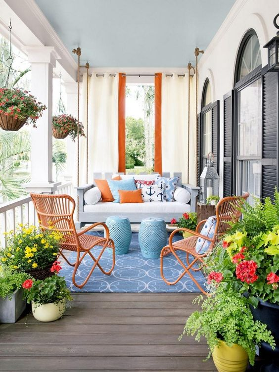 Eclectic outdoor furniture for an exterior
