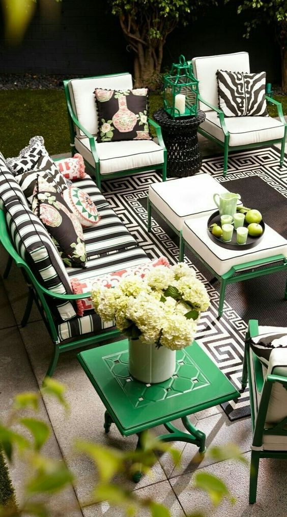 Green and black combination furniture