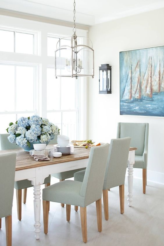 Modern coastal nautical dining room decorating ideas