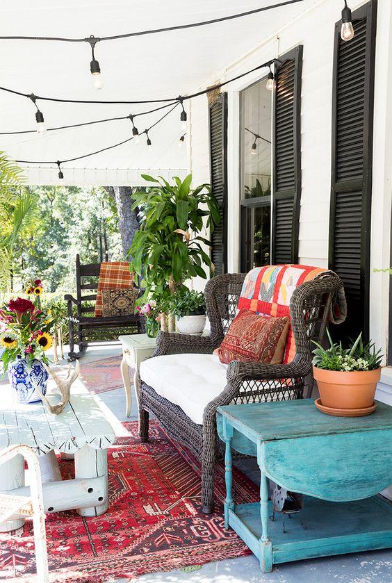 Cozy eclectic porch front