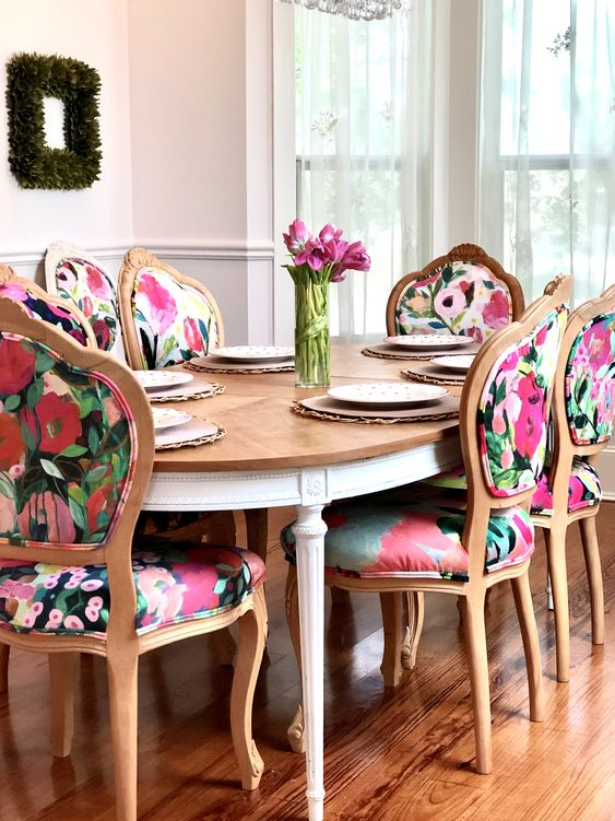 Floral dining chair