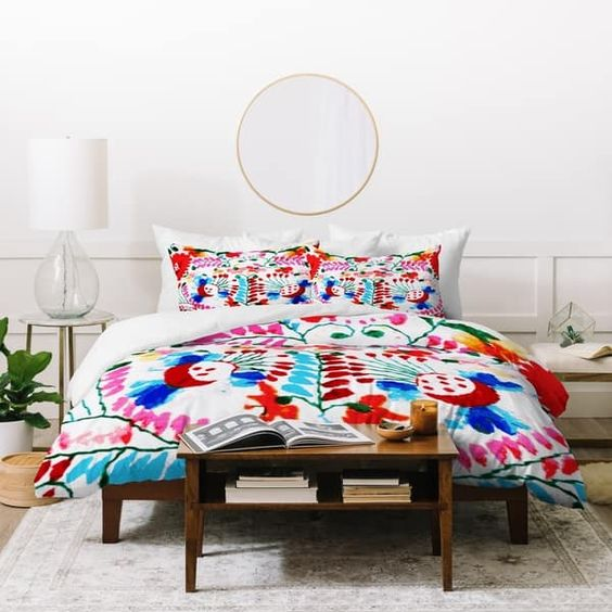 White color with colorful bedsheet