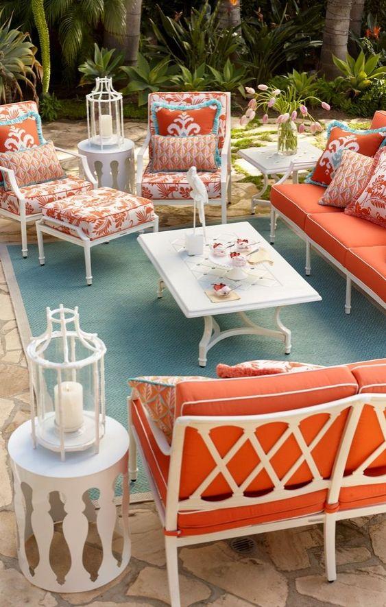 Orange furniture to make colorful concept