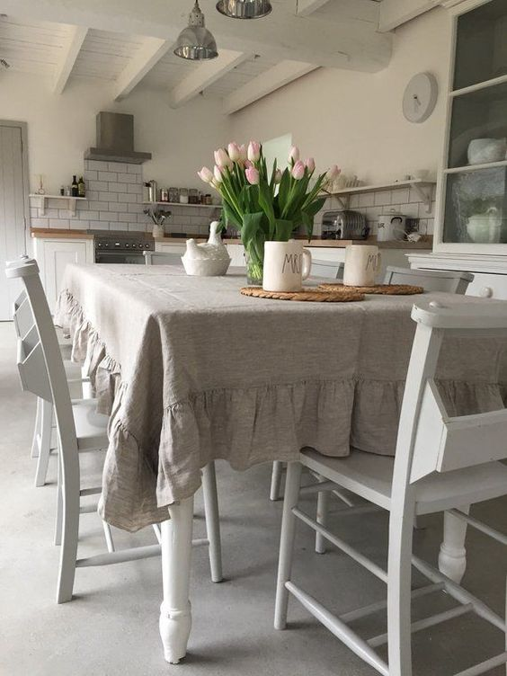 Light brown lacey shabby chic tablecloth