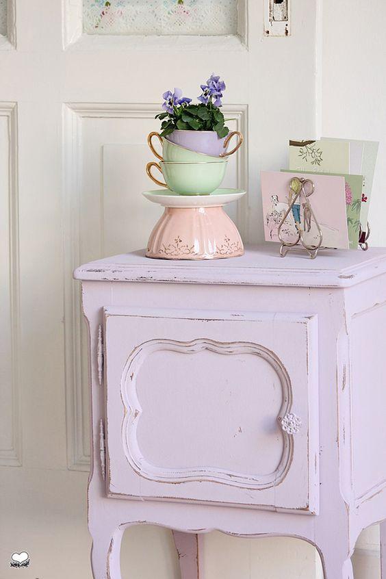 Shabby chic interior design in colorful concept