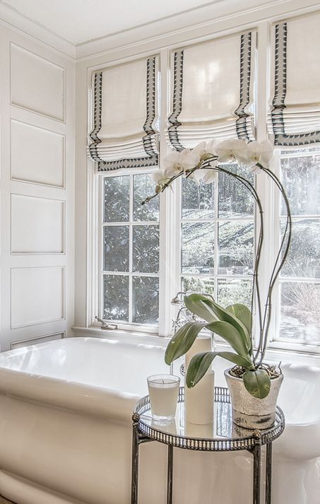 Light grey and white modern Victorian window bathroom curtains