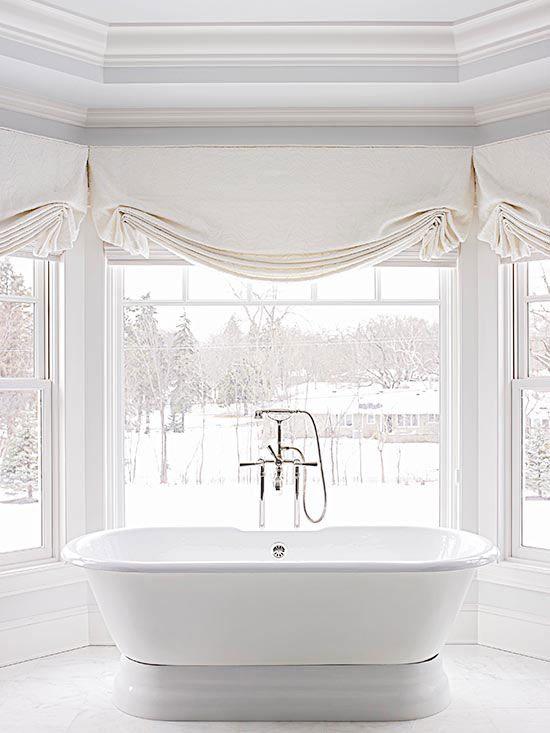 Modern Victorian beige bathroom curtains