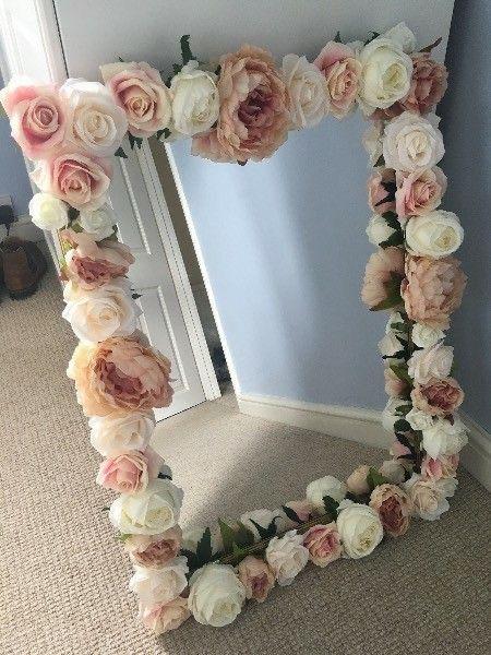 Shabby chic flowers mirror frame