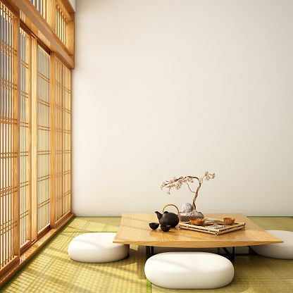 Traditional Japanese living room seating arrangement