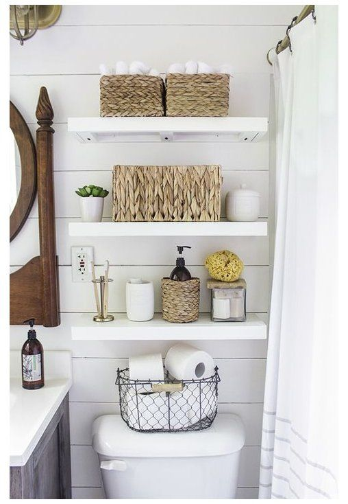 Shabby chic storage recommendations in the bathroom