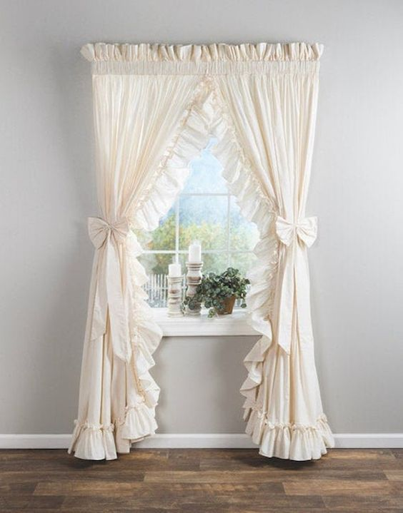 Beige lacey curtains