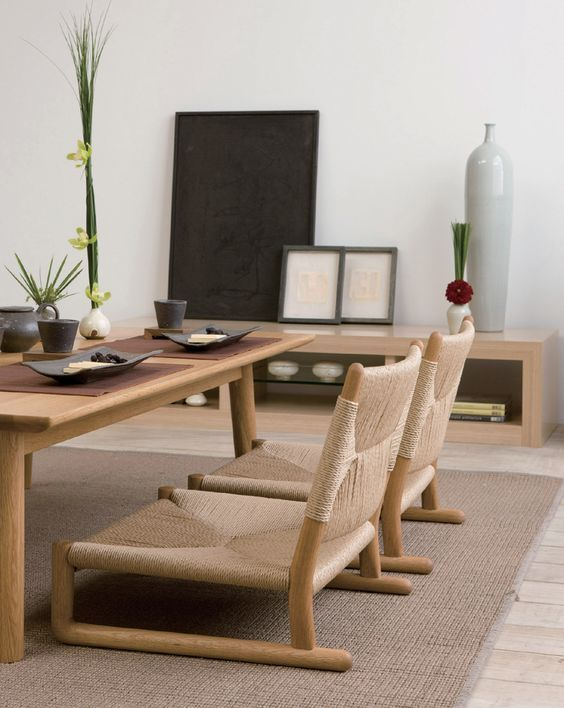 Beautiful modern tables and chairs Japanese dining room