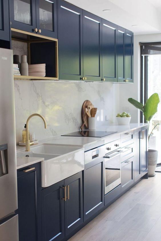 Modern Victorian dark blue kitchen cabinets
