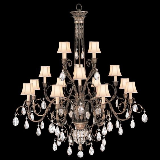 Modern Victorian style chandeliers with lampshades