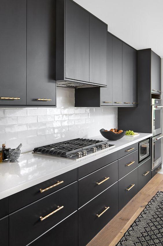 Modern Victorian black kitchen cabinets