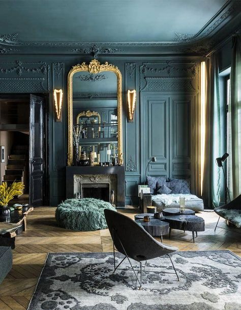 Gold furniture and green textured walls gothic design