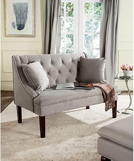 Modern Victorian loveseat with grey color