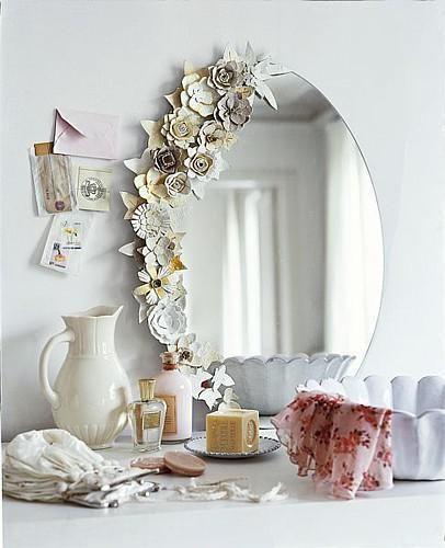 Shabby chic paper flower mirror frame