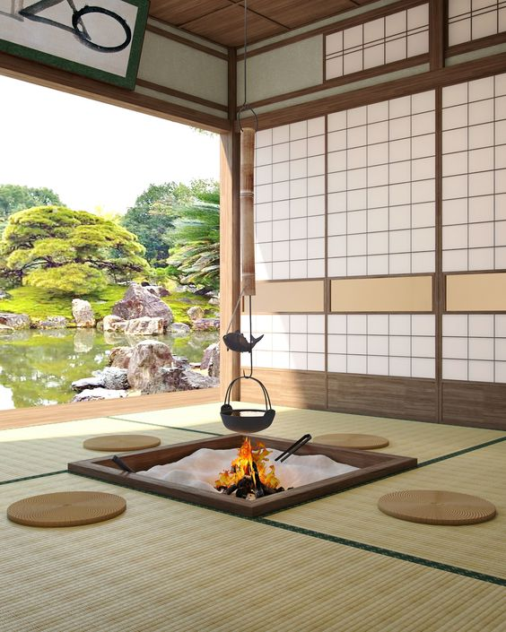 Traditional and cozy Japanese living room seating arrangement