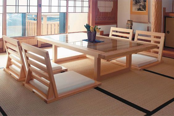 Beautiful dining tables and chairs for Japanese dining room