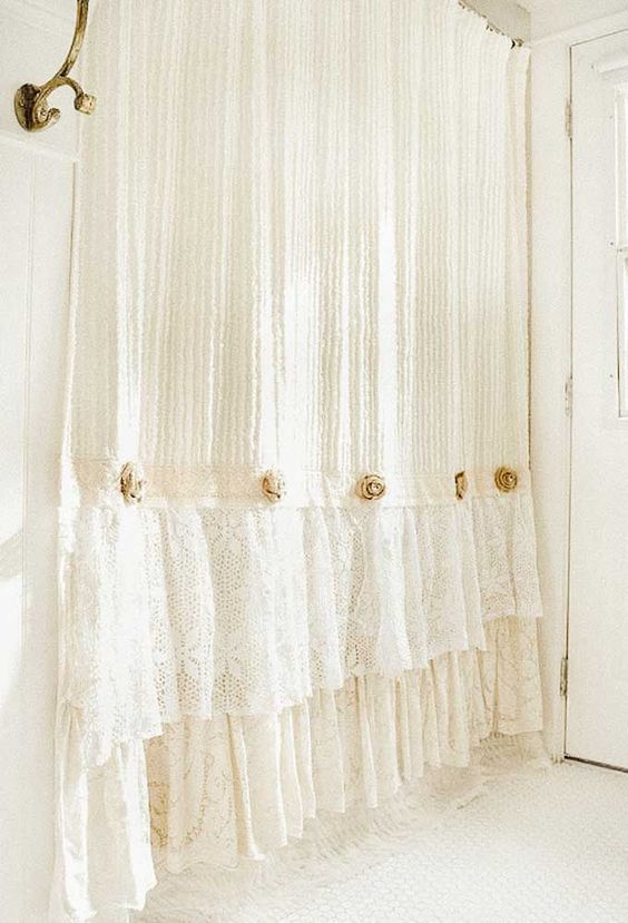 Beige curtains with flower and lacey