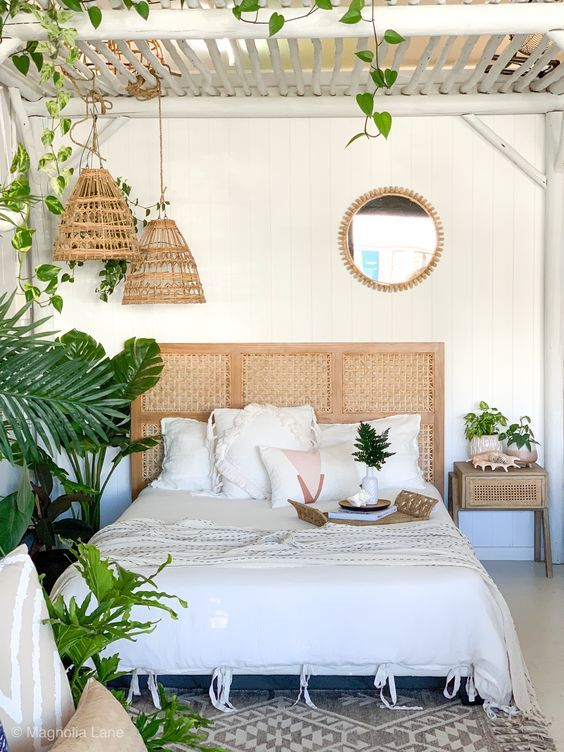 Beige color concept in tropical room