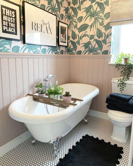 Feminine tropical bathroom
