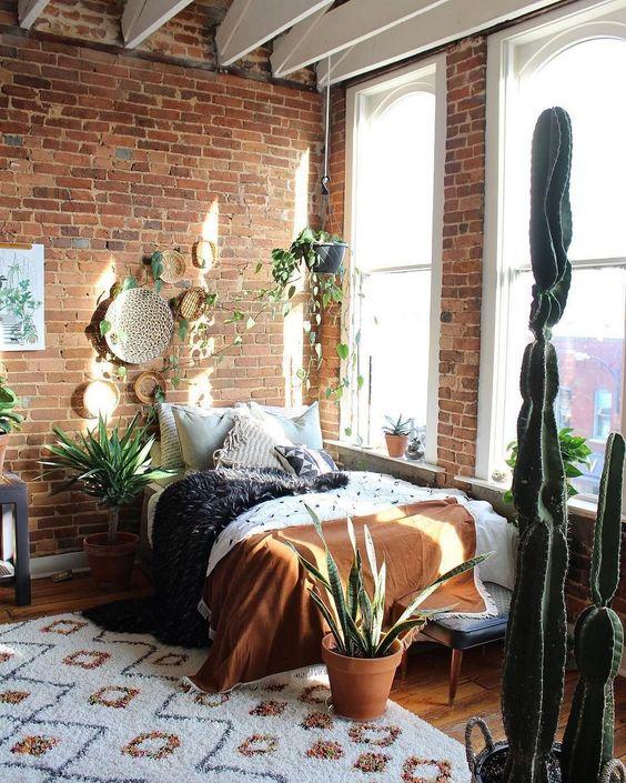 Brick walls in the minimalist rustic bedroom