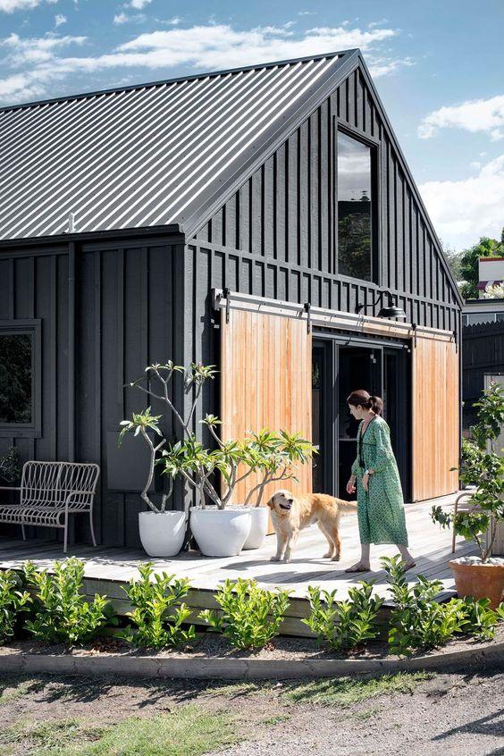 Dark concept Scandinavian home exterior
