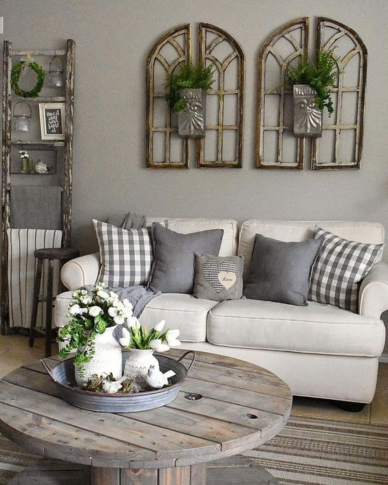 Shabby chic rustic living room interior style