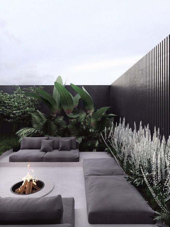 Dark concept tropical terrace