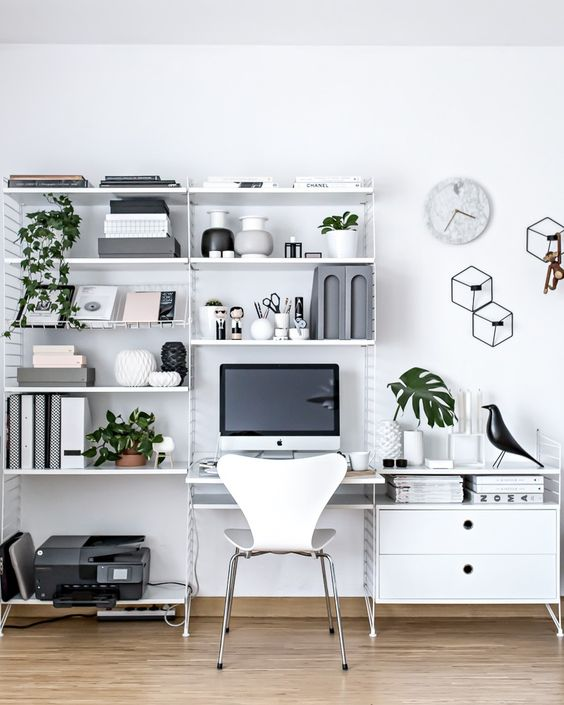 White Scandinavian home office design ideas
