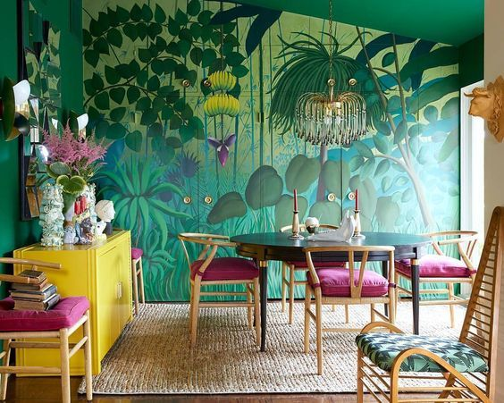 Tropical green wallpaper dining room