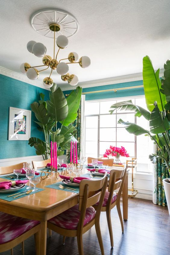 Colorful tropical dining room interior design