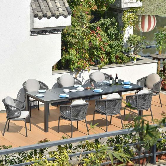 Aluminum dining table set materials