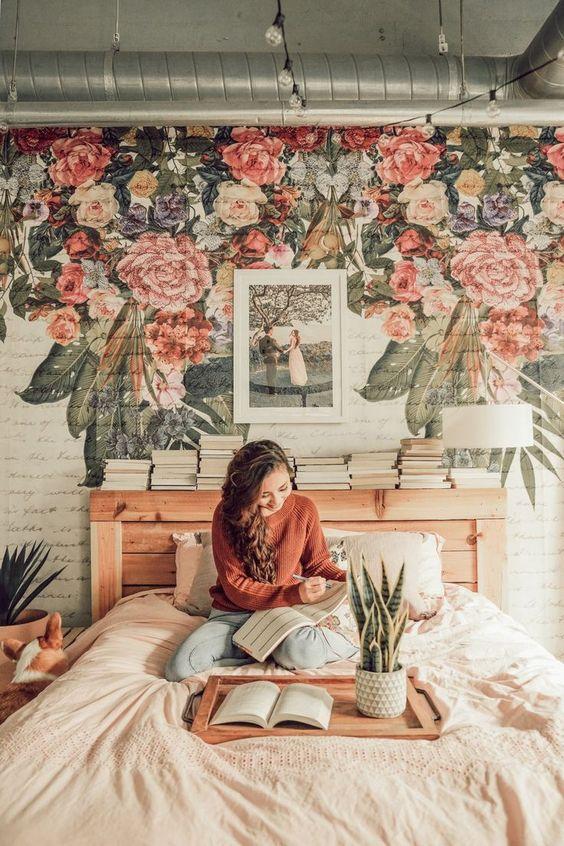 Minimalist rustic bedroom interior design flower wallpaper
