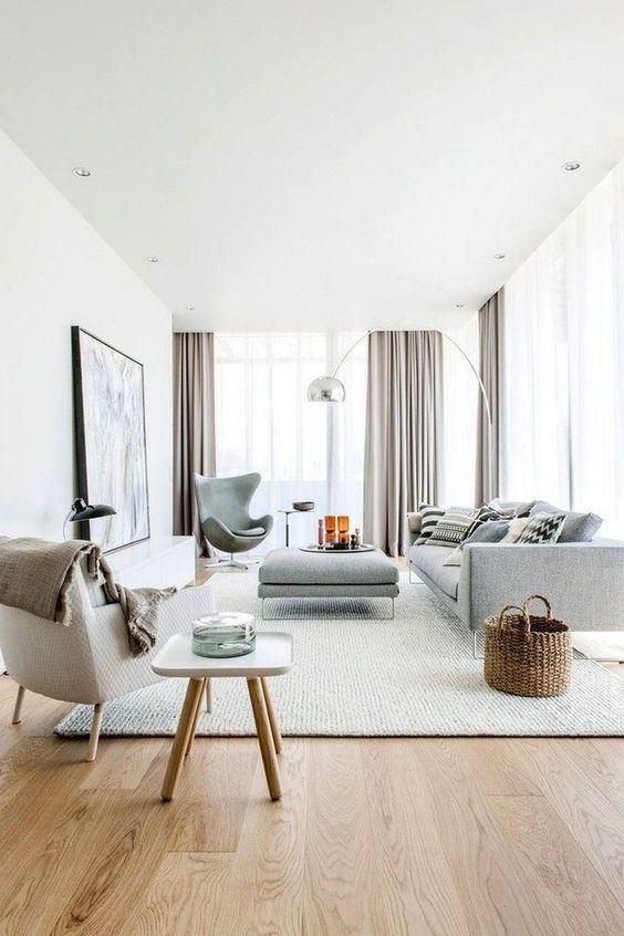 White Scandinavian living room design ideas