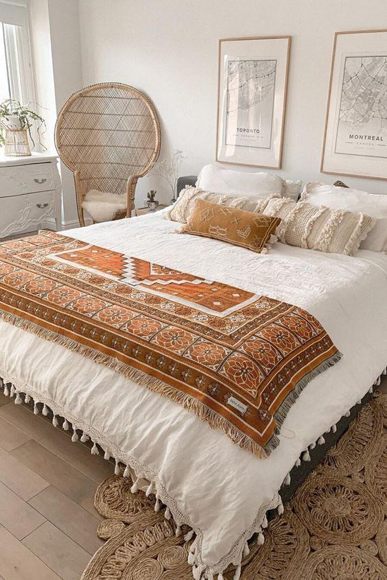 Vintage Scandinavian bedroom interior design