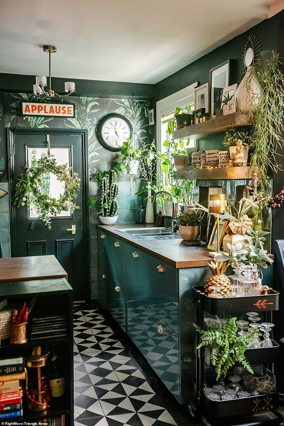 Green color tropical kitchen
