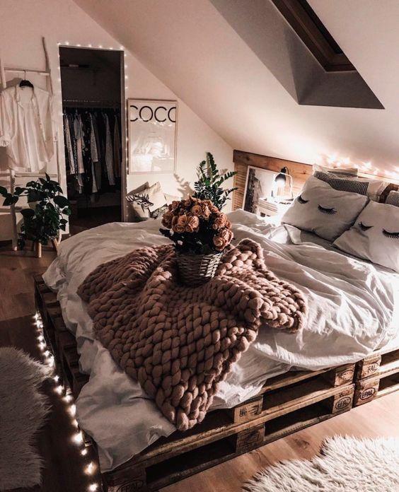 A warm lighting in minimalist rustic bedroom
