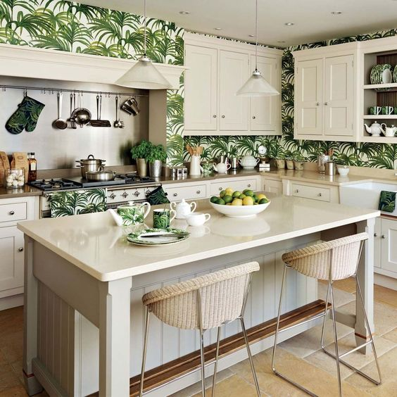 White furniture in the tropical kitchen