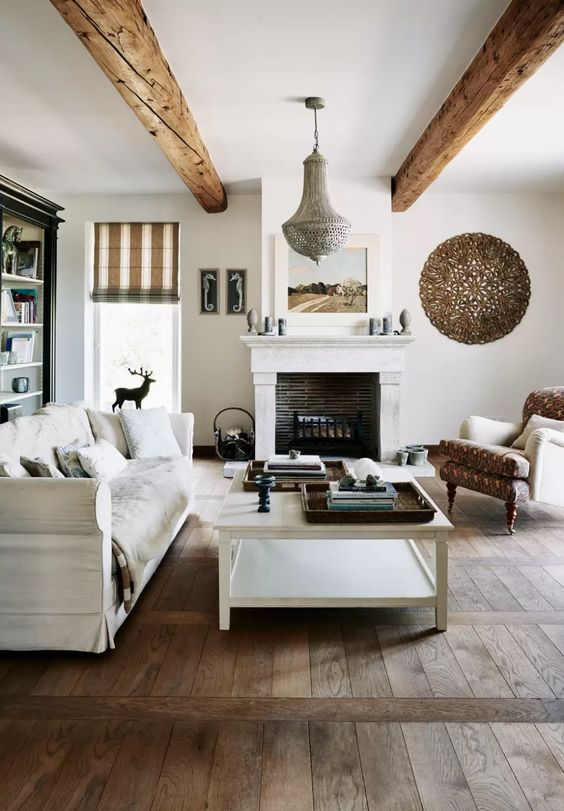 Rustic white color living room