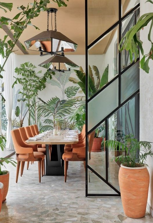 Tropical wallpaper pattern for dining room