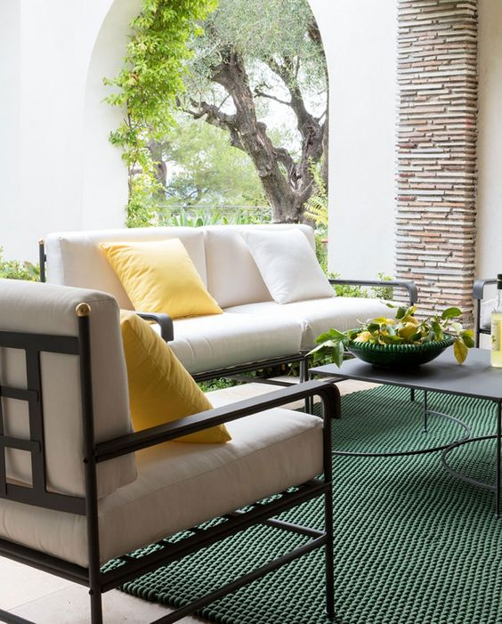 For an ornamental look, opt for wrought iron or cast iron furniture; it can infuse a whole new depth to the space. This is durable outdoor furniture material, but a bit expensive. A drawback of this material is that iron is susceptible to rust and corrosion, especially in coastal areas because of the presence of moisture and salt-laden air. It is important to powder-coat wrought iron and cast iron furniture so as to make it rust-resistant.
