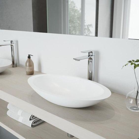 Oval vessel bathroom sinks