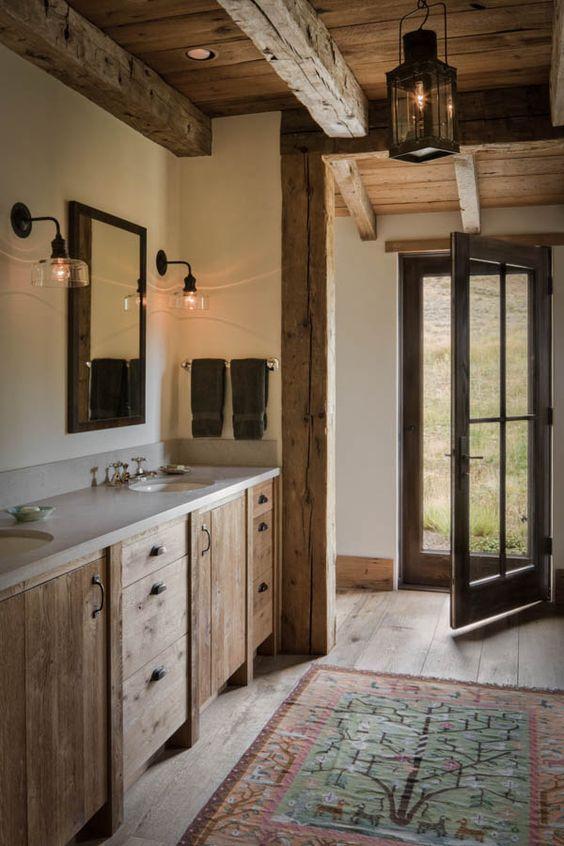 Beige color for small bathroom in rustic design