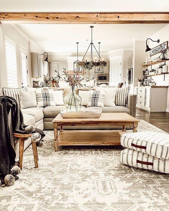 Beige rustic vintage living room