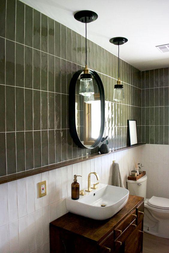 Dark green wall tiles rustic interior design